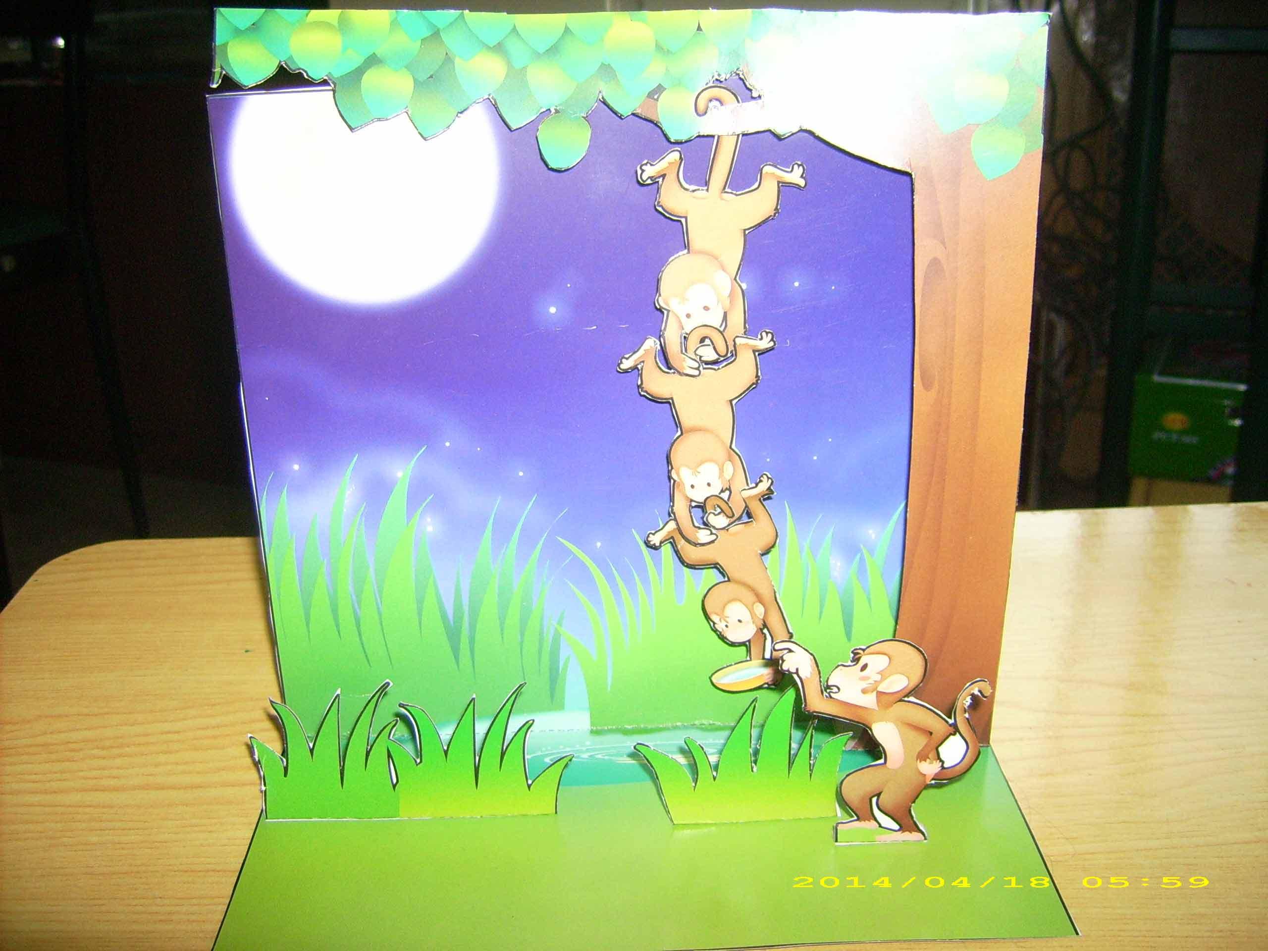 猴子捞月简易画_猴子捞月简笔画_猴子捞月卡通画_银澜手机图片壁纸