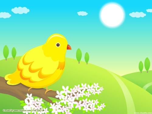 春天来了,天气渐渐暖和了,柳树发芽了,大雁都从南方飞回来了,万物